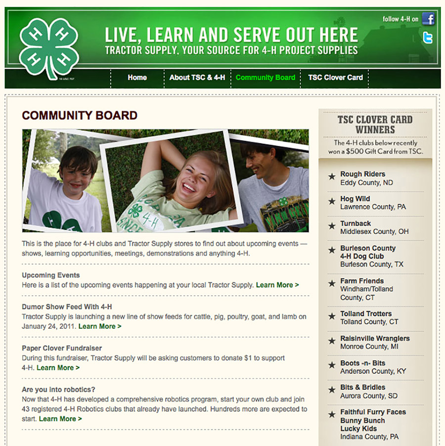 Tractor Supply Co 4H Microsite