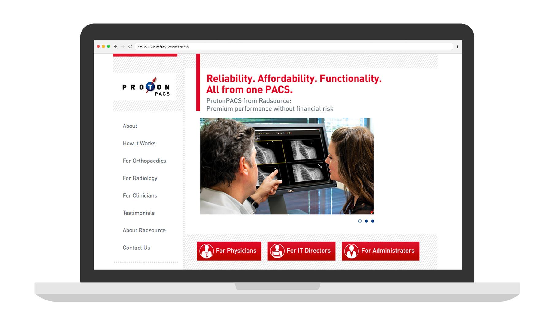 Radsource ProtonPac Website laptop mockup