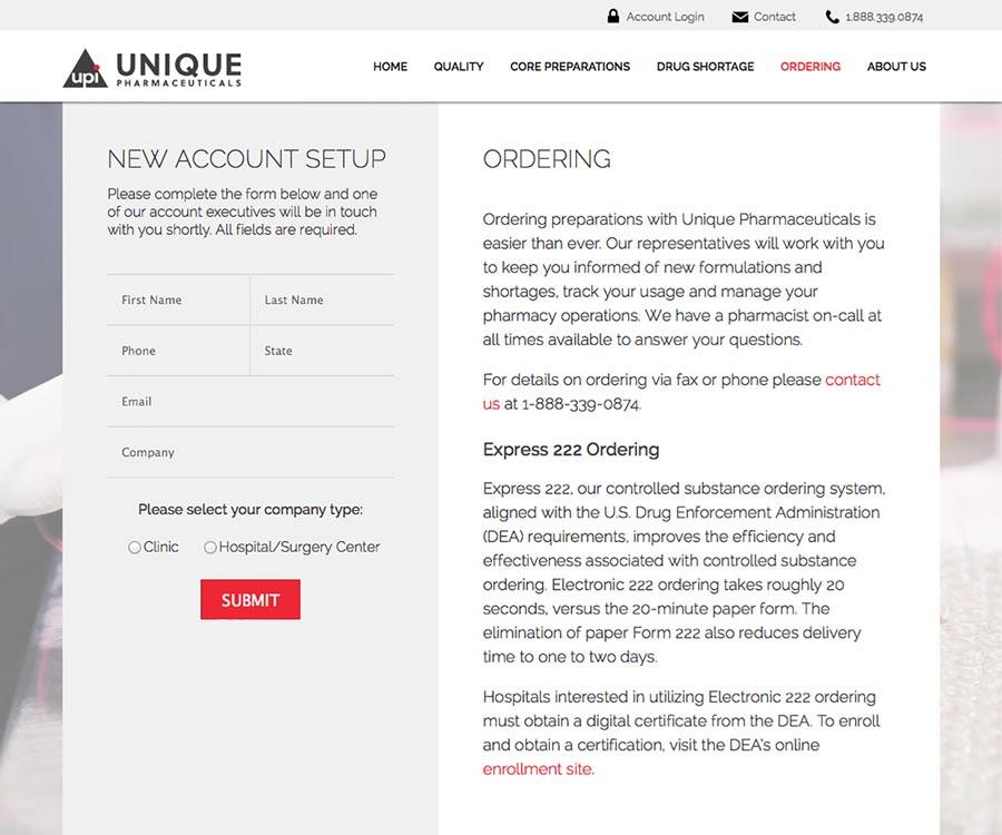 Unique Pharmaceuticals Website