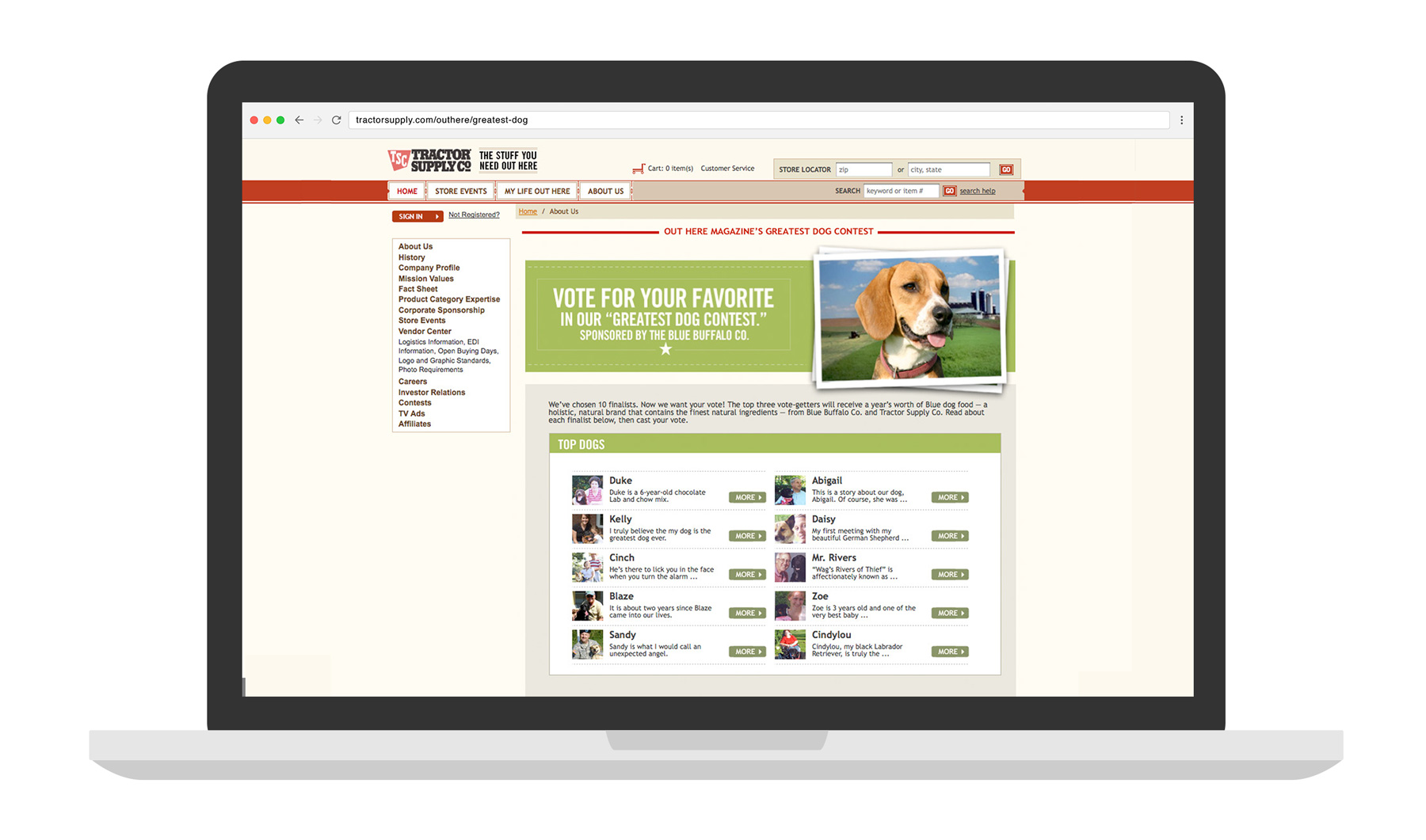 TSC - Greatest Dog Contest Microsite laptop mockup
