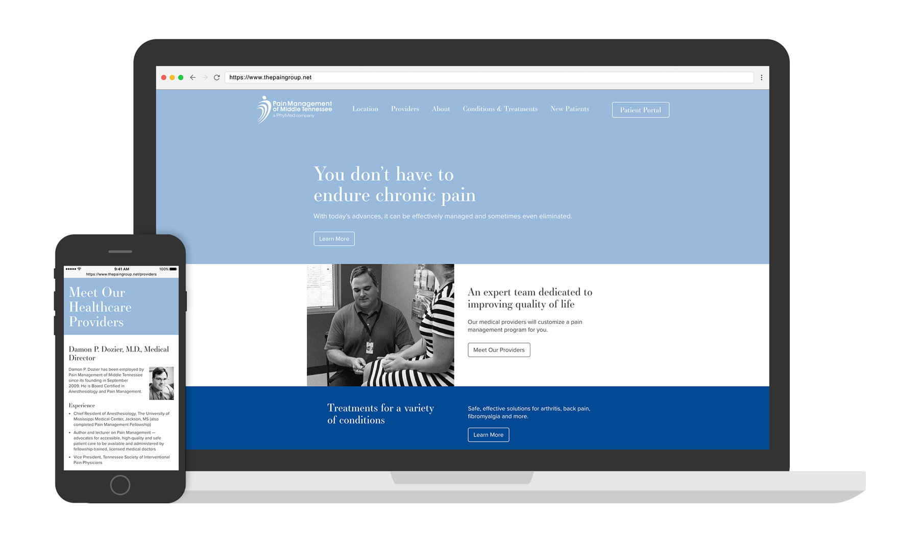 PhyMed - The Pain Group website displayed on multiple devices