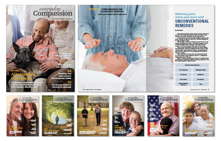 Collage of Everyday Compassion covers and spreads