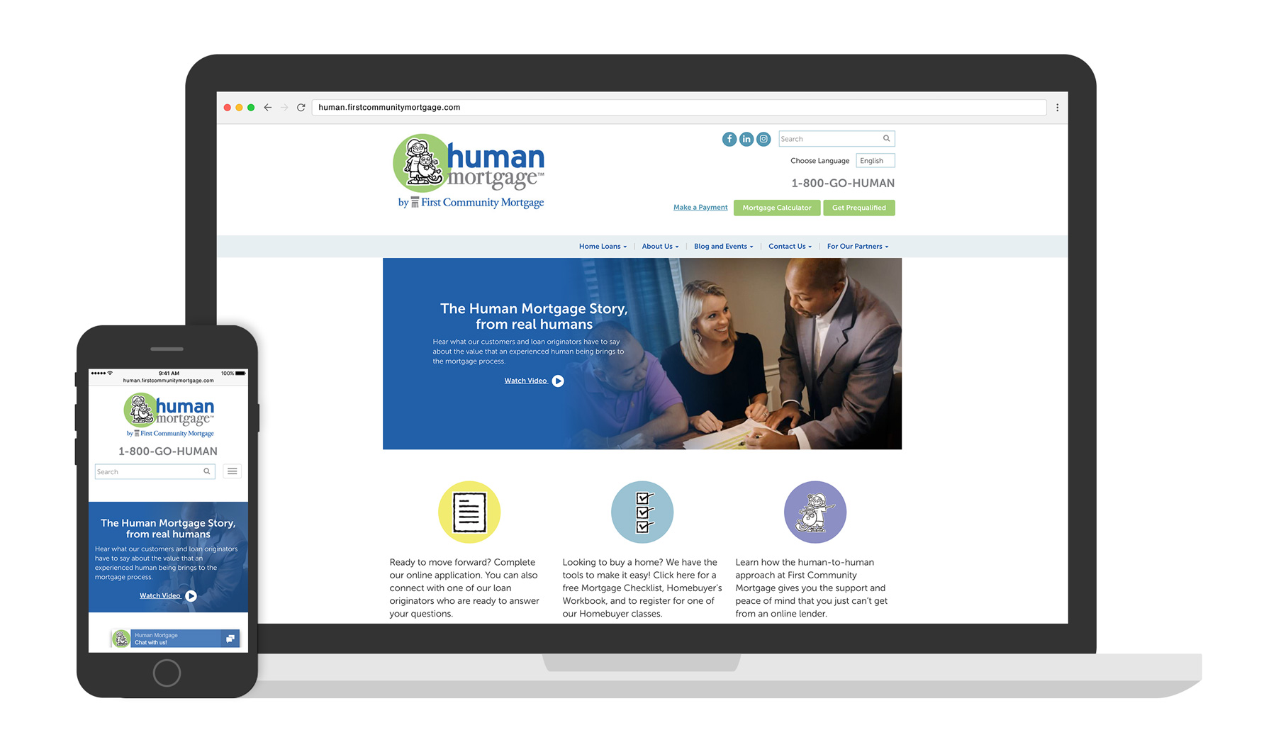 First Community Mortgage Website displayed on multiple devices