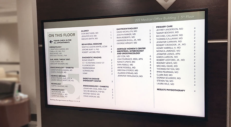 Heritage Medical Associates Elevator Lobby Signage